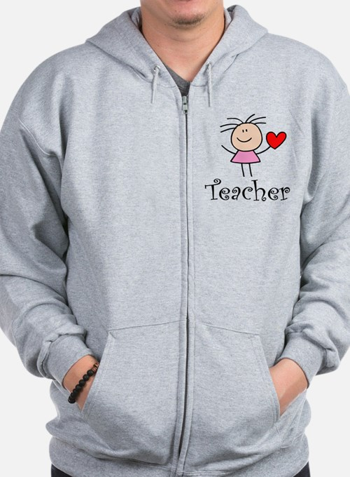 Cute TEACHER Zip Hoodie