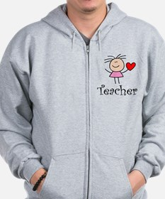 Cute TEACHER Zip Hoody