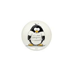 I Love Penguins penguin Mini Button (10 pack)