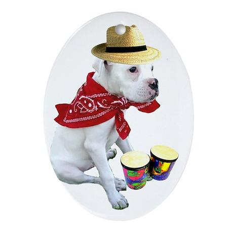 White Boxer Puppy Oval Ornament