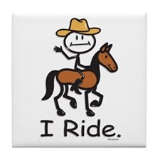 Western horse riding Tile Coaster