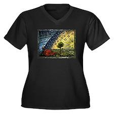 Funny Engraved Women's Plus Size V-Neck Dark T-Shirt