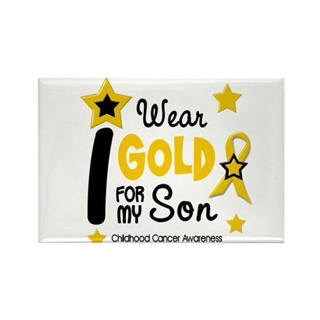 I Wear Gold 12 Son CHILD CANCER Rectangle Magnet