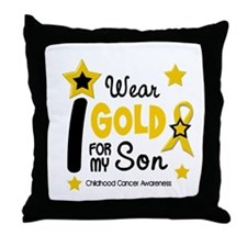 I Wear Gold 12 Son CHILD CANCER Throw Pillow