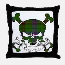 Davidson Tartan Skull Throw Pillow