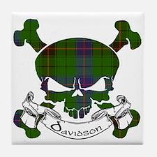 Davidson Tartan Skull Tile Coaster