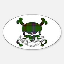 Davidson Tartan Skull Sticker (Oval)