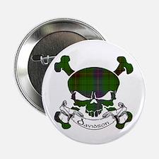"""Davidson Tartan Skull 2.25"""" Button"""