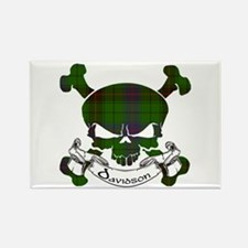 Davidson Tartan Skull Rectangle Magnet