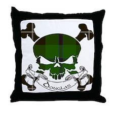 Douglas Tartan Skull Throw Pillow