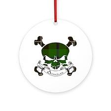 Douglas Tartan Skull Ornament (Round)