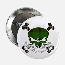 """Douglas Tartan Skull 2.25"""" Button"""
