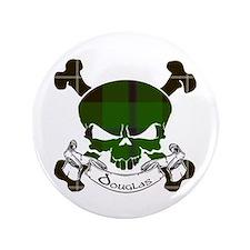"""Douglas Tartan Skull 3.5"""" Button"""