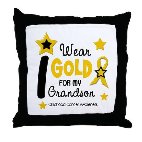 I Wear Gold 12 Grandson CHILD CANCER Throw Pillow