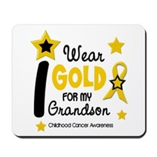I Wear Gold 12 Grandson CHILD CANCER Mousepad