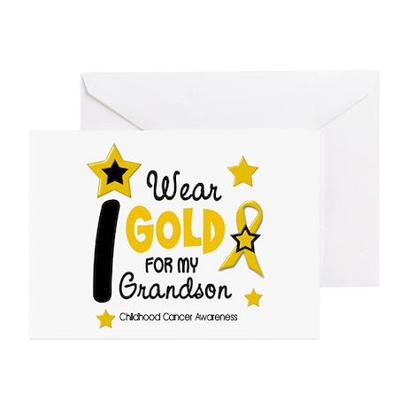 I Wear Gold 12 Grandson CHILD CANCER Greeting Card
