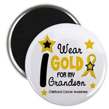 "I Wear Gold 12 Grandson CHILD CANCER 2.25"" Magnet"