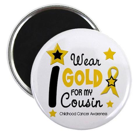 """I Wear Gold 12 Cousin CHILD CANCER 2.25"""" Magnet (1"""