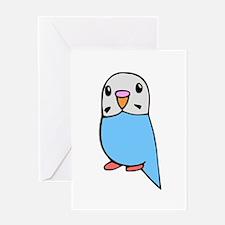 Cute Blue Budgie Greeting Card