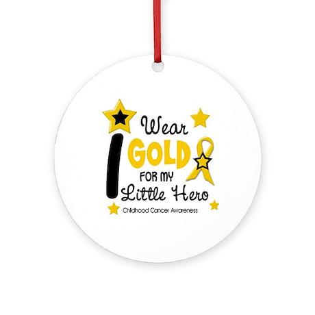 I Wear Gold 12 Little Hero CHILD CANCER Ornament (