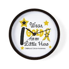 I Wear Gold 12 Little Hero CHILD CANCER Wall Clock