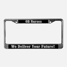 ob nurse delivers future license plate frame