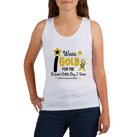 I Wear Gold 12 Brave Boy CHILD CANCER Women's Tank