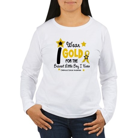 I Wear Gold 12 Brave Boy CHILD CANCER Women's Long