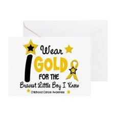 I Wear Gold 12 Brave Boy CHILD CANCER Greeting Car