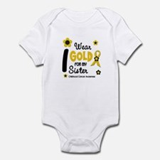 I Wear Gold 12 Sister CHILD CANCER Infant Bodysuit