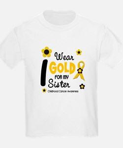 I Wear Gold 12 Sister CHILD CANCER T-Shirt