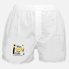 I Wear Gold 12 Sister CHILD CANCER Boxer Shorts