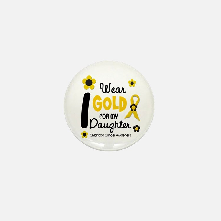 I Wear Gold 12 Daughter CHILD CANCER Mini Button