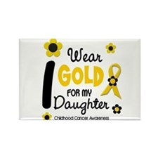 I Wear Gold 12 Daughter CHILD CANCER Rectangle Mag