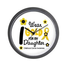 I Wear Gold 12 Daughter CHILD CANCER Wall Clock