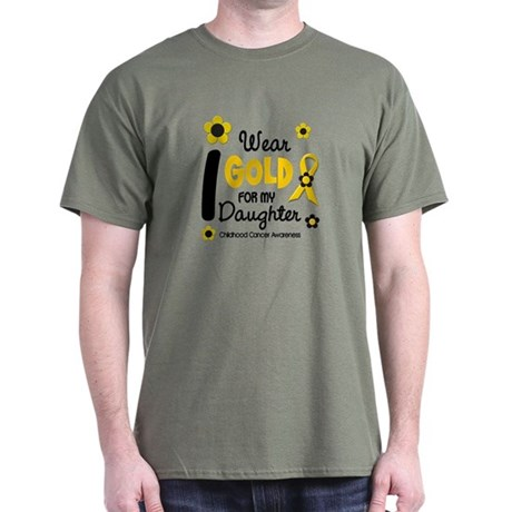 I Wear Gold 12 Daughter CHILD CANCER Dark T-Shirt