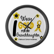 I Wear Gold 12 Granddaughter Large Wall Clock