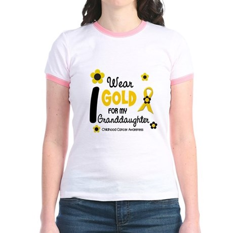 I Wear Gold 12 Granddaughter Jr. Ringer T-Shirt