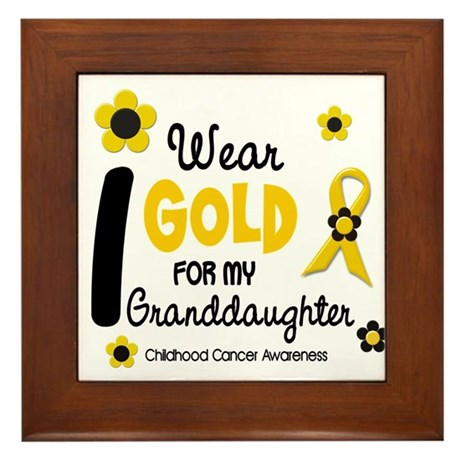 I Wear Gold 12 Granddaughter Framed Tile
