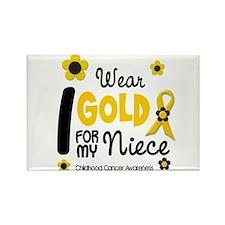 I Wear Gold 12 Niece CHILD CANCER Rectangle Magnet
