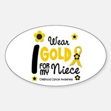 I Wear Gold 12 Niece CHILD CANCER Oval Decal
