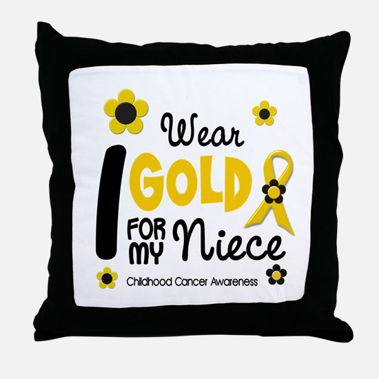 I Wear Gold 12 Niece CHILD CANCER Throw Pillow