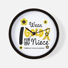 I Wear Gold 12 Niece CHILD CANCER Wall Clock
