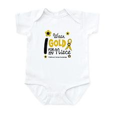 I Wear Gold 12 Niece CHILD CANCER Infant Bodysuit