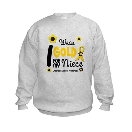 I Wear Gold 12 Niece CHILD CANCER Kids Sweatshirt