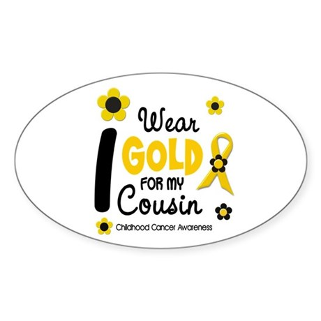 I Wear Gold 12 Cousin CHILD CANCER Oval Sticker