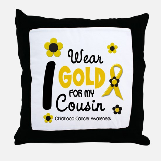 I Wear Gold 12 Cousin CHILD CANCER Throw Pillow