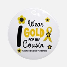 I Wear Gold 12 Cousin CHILD CANCER Ornament (Round