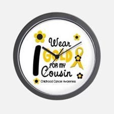 I Wear Gold 12 Cousin CHILD CANCER Wall Clock