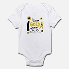 I Wear Gold 12 Cousin CHILD CANCER Infant Bodysuit